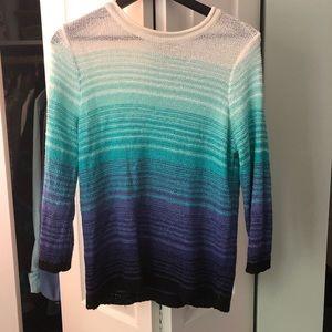 Blue and white gradient sweater